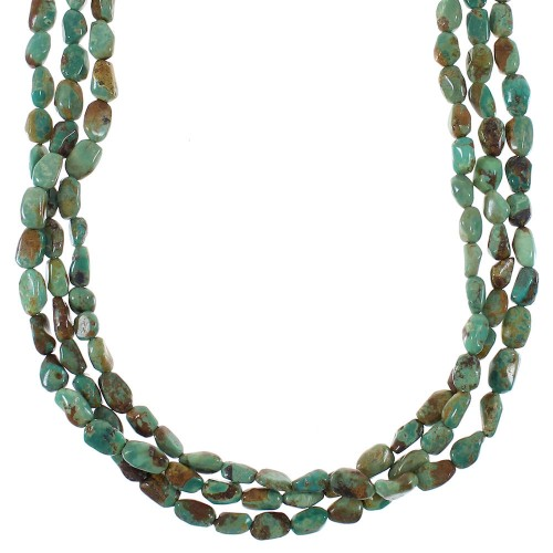 Kingman Turquoise And Authentic Sterling Silver Navajo 3-Strand Bead Necklace