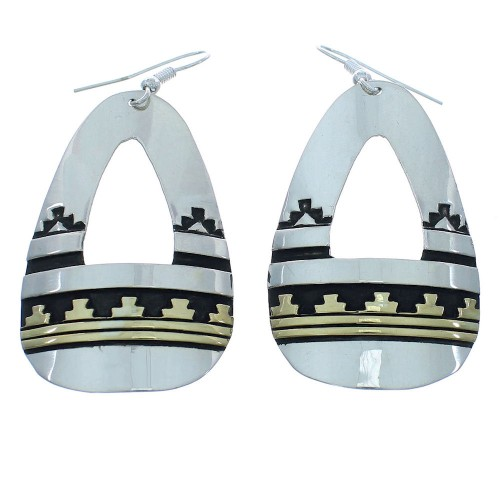 Authentic Sterling Silver And 12KGF Tommy And Rose Singer Navajo Hook Dangle Earrings