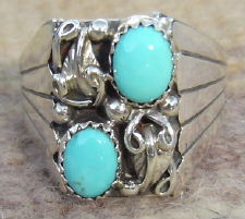 Navajo Square Faced Double Turquoise Ring By C. Yazzie Sz 12 1/4