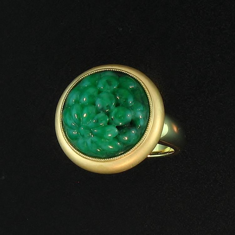 Untreated Green Jadeite Jade Ring