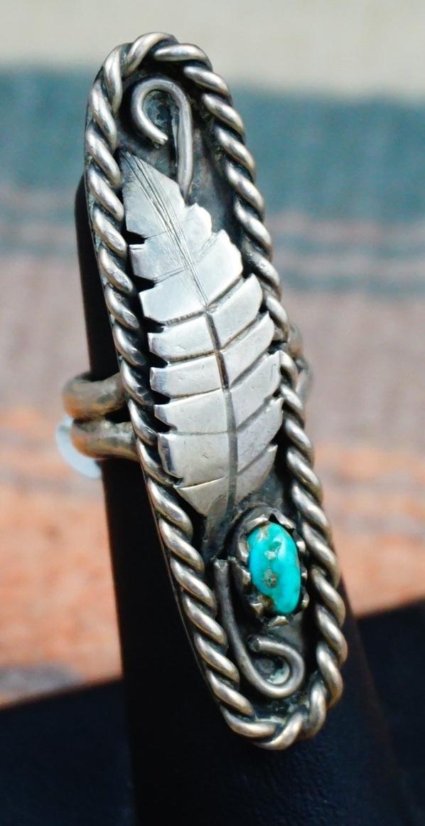 Xlg Vintage Navajo Turquoise Leaf Ring Sz 6