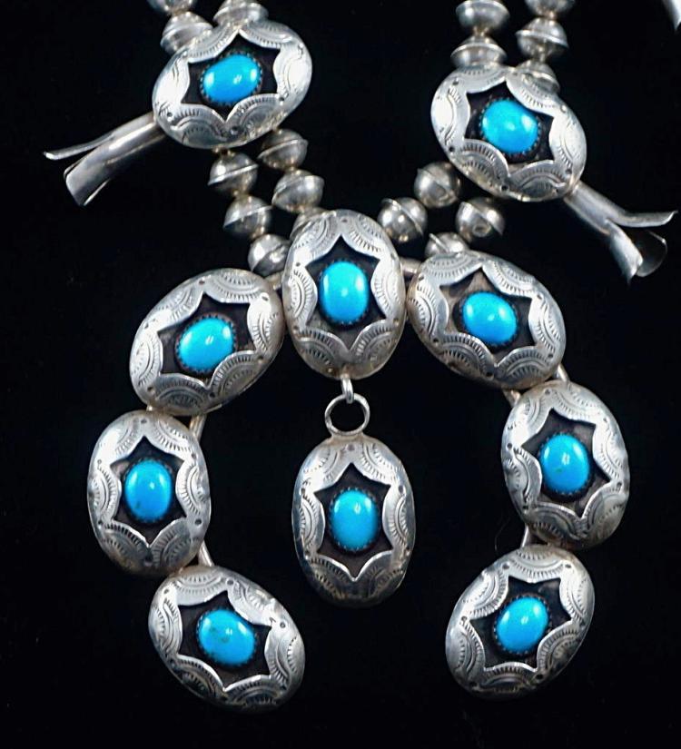 Vintage Navajo Turquoise Shadowbox Squashblossom Necklace