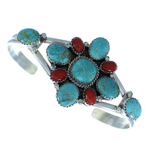 Genuine Sterling Silver #8 Turquoise And Coral Navajo Cuff Bracelet
