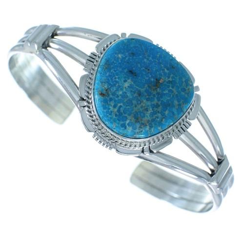 Sterling Silver Birds Eye Turquoise Navajo Cuff Bracelet