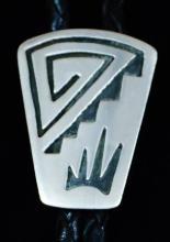 Vintage 70's Navajo Silver Symbols Overlay Bolo Tie