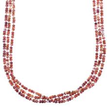 Red Oyster Shell Sterling Silver Native American 3-Strand Bead Necklace
