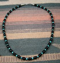 Kewa Turquoise And Jet Beaded Necklace By J.tortalita