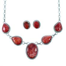 Sterling Silver Red Oyster Shell Navajo Indian Link Necklace Set