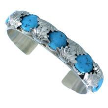 Genuine Sterling Silver Turquoise Zuni Cuff Bracelet