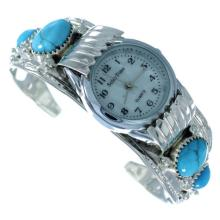 Navajo Genuine Sterling Silver Flower Turquoise Cuff Watch