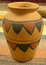 Sm Pueblo Painted Orange Clay Vase