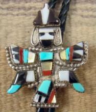 50's Zuni Multi Stone Inlay Knifewing Bolo