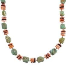 Kingman Turquoise Oyster Shell Sterling Silver Navajo Indian Bead Necklace