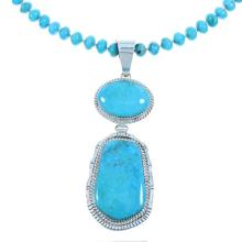Navajo Sterling Silver And Turquoise Bead Necklace Set