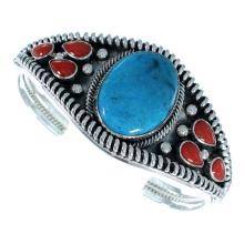 Coral Turquoise Sterling Silver Native American Cuff Bracelet
