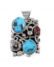 Turquoise And Coral Silver Flower Navajo Pendant