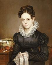AMERICAN SCHOOL - PORTRAIT OF A LADY WITH A SEWING BASKET
