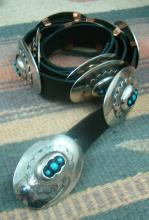 Navajo Turquoise Shadowbox Stamped Nickel Silver Concho Belt By Cb