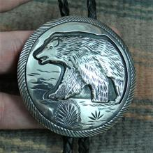 Large Navajo Bear Silver Overlay Collector's Bolo By T.bahe