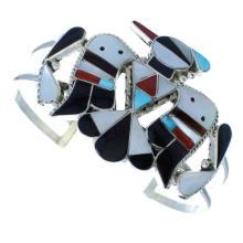 Silver Thunderbird Multicolor Inlay Zuni Cuff Bracelet