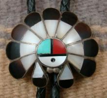 Vintage Zuni Multistone Inlay Sunface Chief Bolo