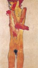 EGON SCHIELE - NUDE GIRL WITH FOLDED ARMS