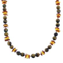 Silver Amber And Tiger Eye Navajo Bead Necklace