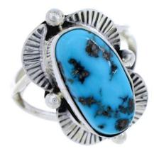 Navajo Indian Sterling Silver Turquoise Ring Size 7-3/4