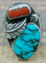 Vintage Navajo Turquoise Coral Leaf Stamped Cast Ring