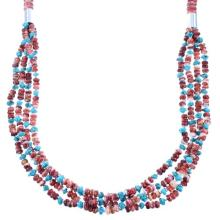 Sterling Silver 4-Strand Red Oyster Shell And Turquoise Navajo Indian Bead Necklace
