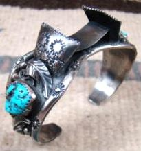 80's Navajo Turquoise Silver Leaves Decorative Stamped Watchcuff