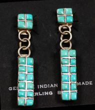 Zuni 2pc 16 Stone Square Turquoise Raised Inlay Earrings