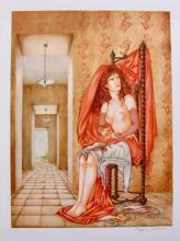 Sophie Busson ?days Catch? Hand Signed Limited Edition Lithograph French Art Mucha