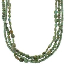 Kingman Turquoise Navajo Indian Sterling Silver 3-Strand Bead Necklace