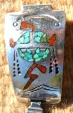 Vintage Navajo Turquoise Coral Inlay Kachina Head Watchband By Beegay