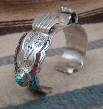 Ladies Vintage 70's Navajo Turquoise Coral Inlay Waterbird W/turquoise Nuggets Watchcuff
