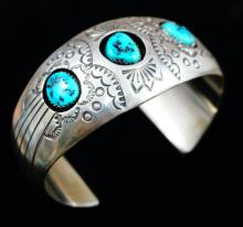 Navajo 3 Stone Stamped Turquoise Cuff