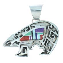 Multicolor Inlay Navajo Sterling Silver Navajo Pendant