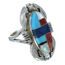 Multicolor Inlay Sterling Silver Native American Ray Jack Ring Size 7-1/4