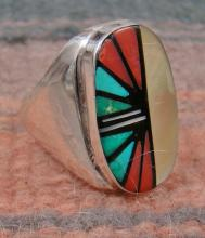 Large Zuni Multi Stone Geometrical Inlay Cast Ring