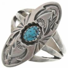 Natural Spiderweb Kingman Turquoise Ring Ladies Pointer Design
