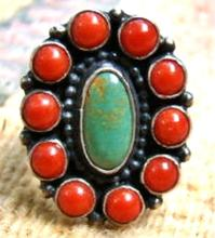 Large Navajo 11 Stone Turquoise Coral Satellite Cluster Decorative Band Ring By L.martinez