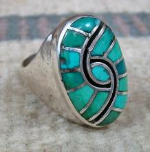 Large Vintage Zuni 13pc Turquoise Inlay Hummingbird Cast Ring