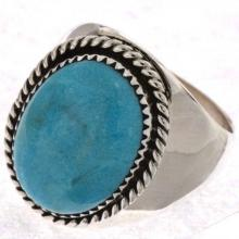 Mens Turquoise Ring Heavy Gauge Silver
