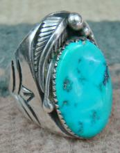 Large Vintage 60's-70's Navajo Turquoise Feather Decorative Stamped Cast Ring