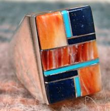 Navajo Rectangular Multi Color Stone Inlay Cast Ring By W.gray