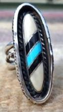 Heavy Vintage 60's Zuni Turquoise Fossilized Ivory Jet Shadowbox Ring