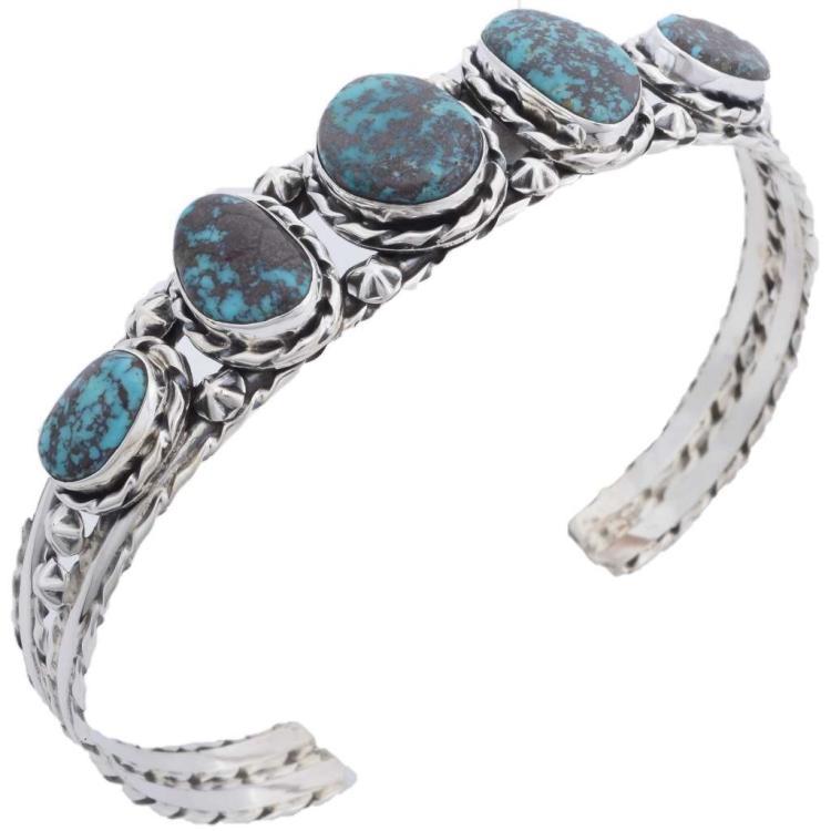 Five Stone Turquoise Bracelet Navajo Free Form Design