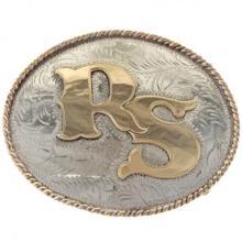 Custom Initials Belt Buckle Fancy Gold Silver Western Scroll