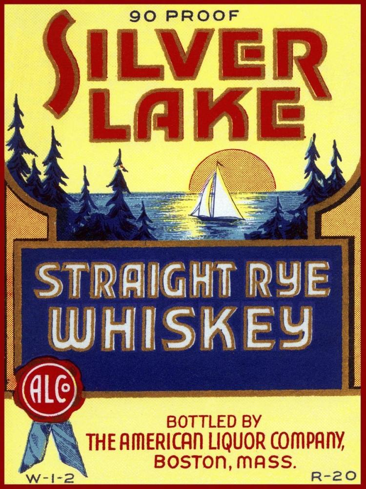 Vintage booze labels silver lake straight rye whiskey for Classic house labels